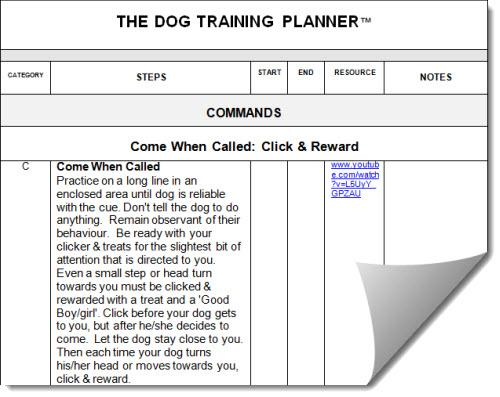 Dog Training Planner Formula
